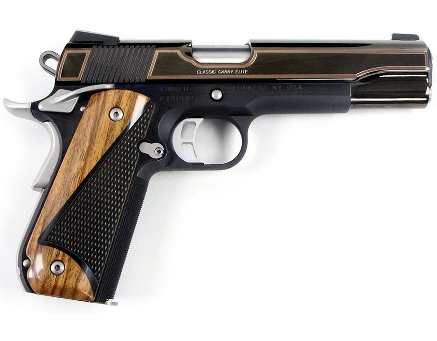 Kimber Classic Carry Elite Built in Kimber's Custom Shop, this fine 1911 45 ACP features bright blue slide with gold inlay, matte stainless controls and special walnut grips. $1,550+