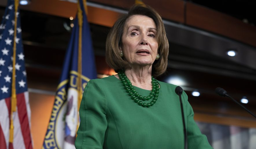 House Democratic Leader Nancy Pelosi of California, talks to reporters as Congress tries to pass legislation that would avert a partial government shutdown, at the Capitol in Washington, Thursday, Dec. 20, 2018. (AP Photo/J. Scott Applewhite) ** FILE **