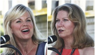"""In this combination of Aug. 30, 2018, file photos, Gretchen Carlson, left, chairwoman of the Miss America board of directors, and Regina Hopper, the pageant's CEO, speaks to the contestants and the crowd during the annual Miss America arrival celebration in Atlantic City, N.J. Carlson, Hopper and the Miss America Organization are being sued by a former board member and four states claiming """"an illegal and bad-faith takeover"""" of the pageant. The lawsuit filed Wednesday, Dec. 19, 2018, in Atlantic City. (Erin Grugan/The Press of Atlantic City via AP)"""