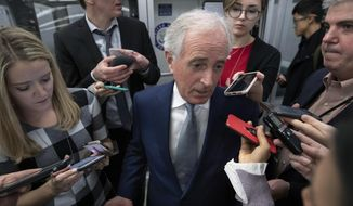 FILE - In this Dec. 4, 2018, file photo, Senate Foreign Relations Committee Bob Corker, R-Tenn., speaks to reporters at the Capitol. Corker of Tennessee says he'll jump in his car next month when his term is finished and drive home from Washington. He insists he's got no idea what's next after that. (AP Photo/J. Scott Applewhite, File)