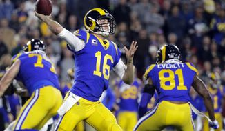 FILE - In this Sunday, Dec. 16, 2018, file photo, Los Angeles Rams quarterback Jared Goff throws a pass during an NFL football game against the Philadelphia Eagles in Los Angeles. The Rams play the Arizona Cardinals on Sunday.  (AP Photo/Jae C. Hong, File)
