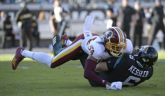 Jacksonville Jaguars quarterback Cody Kessler (6) is tackled by Washington Redskins cornerback Josh Norman (24) after scrambling for yardage during the second half of an NFL football game Sunday, Dec. 16, 2018, in Jacksonville, Fla. (AP Photo/Phelan M. Ebenhack) ** FILE **