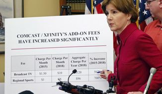 Minnesota Attorney General Lori Swanson announces Friday, Dec. 21, 2018 in St. Paul, Minn. the filing of a lawsuit against Comcast/Xfinity, alleging the company has overcharged thousands of consumers for cable TV packages, charged them for unordered equipment and services, and failed to deliver on promised Visa gift cards. (AP Photo/Jim Mone)