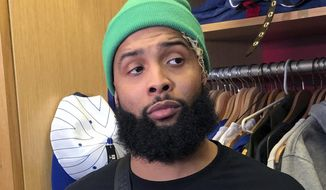 New York Giants wide receiver Odell Beckham Jr. speaks to reporters in East Rutherford, N.J., Thursday, Dec. 20, 2018. (AP Photo/Tom Canavan) ** FILE **