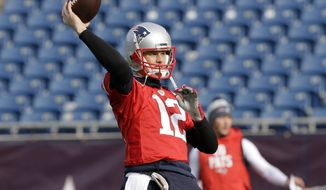 New England Patriots quarterback Tom Brady winds up to throw the ball during an NFL football practice, Thursday, Dec. 20, 2018, in Foxborough, Mass. (AP Photo/Steven Senne)