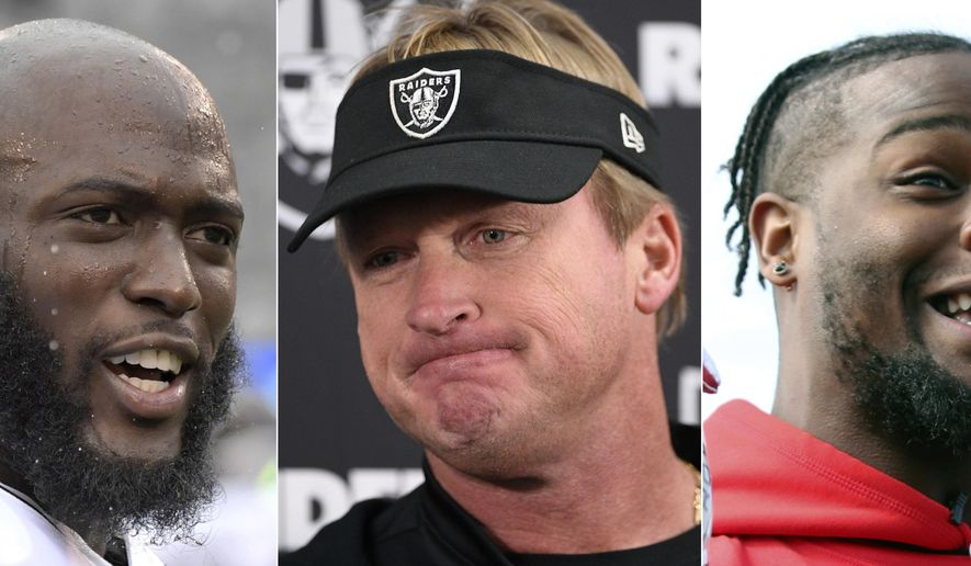 FILE - These are 2018 file photos showing Jacksonville Jaguars running back Leonard Fournette, left, Oakland Raiders head coach Jon Gruden, center, and  Running back Le'Veon Bell. Jon Gruden's return to Oakland was one of the biggest headlines of the offseason, but the Raiders have been a dud in year one of the makeover. Fournette hasn't been healthy, and neither has his performance. And Le'Veon Bell never set foot on the field with the Pittsburgh Steelers. (AP Photo/File)