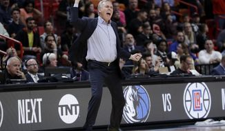 Houston Rockets head coach Mike D'Antoni reacts during the second half of an NBA basketball game against the Miami Heat, Thursday, Dec. 20, 2018, in Miami. The Heat won 101-99. (AP Photo/Lynne Sladky)