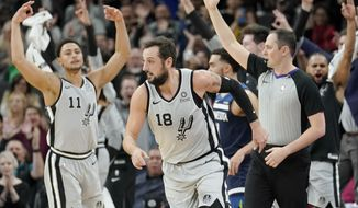 San Antonio Spurs' Marco Belinelli (18) runs upcourt after scoring a three-point basket as the team's bench and fans celebrate during the first half of an NBA basketball game against the Minnesota Timberwolves, Friday, Dec. 21, 2018, in San Antonio. (AP Photo/Darren Abate)
