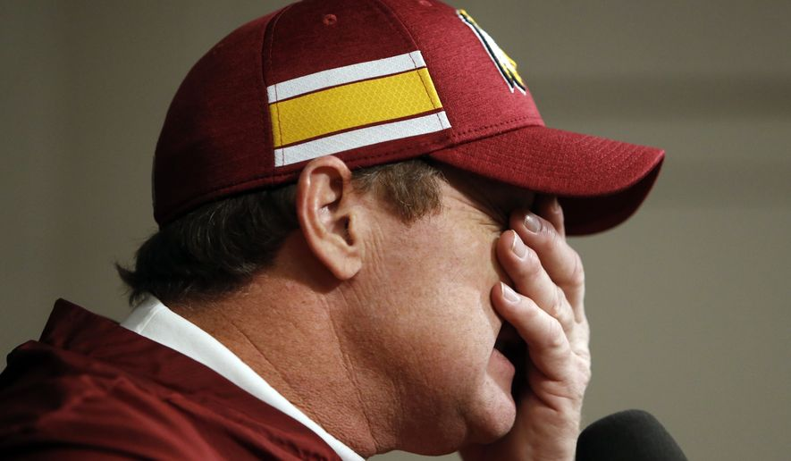 Washington Redskins head coach Jay Gruden answers questions after an NFL football game against the Tennessee Titans Saturday, Dec. 22, 2018, in Nashville, Tenn. The Titans won 25-16. (AP Photo/James Kenney) ** FILE **
