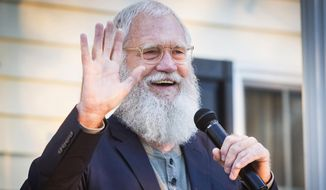 In this Thursday, Sept. 27, 2018 file photo, former Late Night talk show host David Letterman waves during a political rally in Muncie, Ind. (Jordan Kartholl/The Star Press via AP,File)