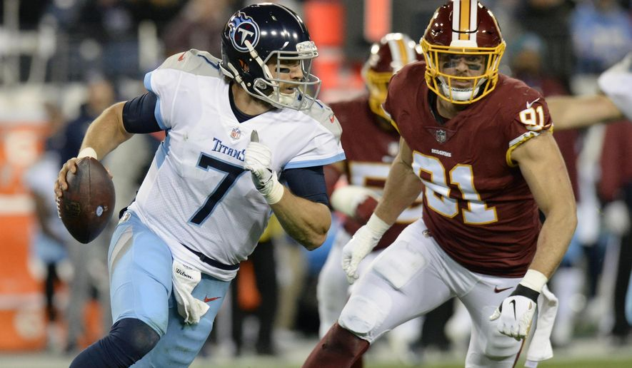 Tennessee Titans quarterback Blaine Gabbert (7) is pressured by Washington Redskins outside linebacker Ryan Kerrigan (91) in the second half of an NFL football game Saturday, Dec. 22, 2018, in Nashville, Tenn. (AP Photo/Mark Zaleski)