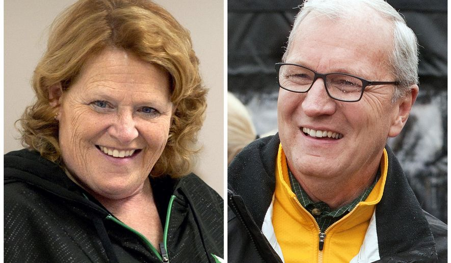 FILE - This combination of file photos shows North Dakota Senate candidates in the November 2018 election from left, incumbent Democratic Sen. Heidi Heitkamp and her Republican challenger Kevin Cramer. Cramer defeated Heitkamp in the midterm election. (AP Photo/Bruce Crummy, File)