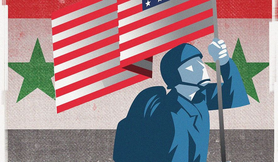 Illustration on why the U.S. should stay in Syria by Linas Garsys/The Washington Times