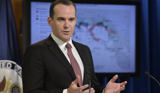 Brett McGurk, U.S. envoy for the global coalition against IS, speaks during a briefing at the State Department in Washington, Friday, Aug. 4, 2017, (AP Photo/Susan Walsh)