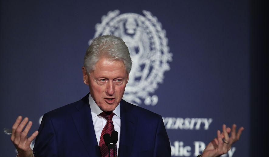 Former President Bill Clinton speaks at a symposium in Georgetown University in Washington, Monday, Nov. 6, 2017. (AP Photo/Manuel Balce Ceneta) ** FILE **