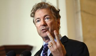 In this Sept. 25, 2017, file photo, Sen. Rand Paul, R-Ky., speaks during a news conference on Capitol Hill in Washington. (Associated Press) ** FILE **
