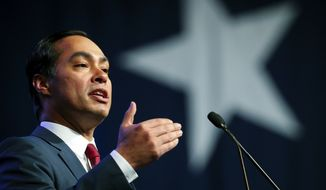 Julian Castro speaks at the start of the general session at the Texas Democratic Convention Friday, June 22, 2018, in Fort Worth, Texas. (AP Photo/Richard W. Rodriguez) **FILE**