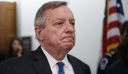 Sen. Dick Durbin, D-Ill., leaves at the end of Senate Judiciary Committee hearing on Capitol Hill in Washington, Thursday, Sept. 27, 2018, with Christine Blasey Ford and Supreme Court nominee Brett Kavanaugh. (AP Photo/Carolyn Kaster) ** FILE **