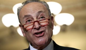 In this Dec. 11, 2018, file photo, Senate Minority Leader Chuck Schumer, D-N.Y., speaks to reporters on Capitol Hill in Washington. The White House on Sunday, Dec. 16, pushed the federal government closer to the brink of a partial shutdown later this week, digging in on its demand for $5 billion to build a border wall as congressional Democrats stood firm against it. Democratic congressional leaders, Schumer and Rep. Nancy Pelosi, have proposed no more than $1.6 billion, as outlined in a bipartisan Senate bill. The money would not go for the wall but for fencing upgrades and other border security. (AP Photo/Manuel Balce Ceneta, File)