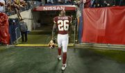 Washington Redskins running back Adrian Peterson leaves the field after an NFL football game against the Tennessee Titans Saturday, Dec. 22, 2018, in Nashville, Tenn. The Titans won 25-16.(AP Photo/Mark Zaleski) ** FILE **