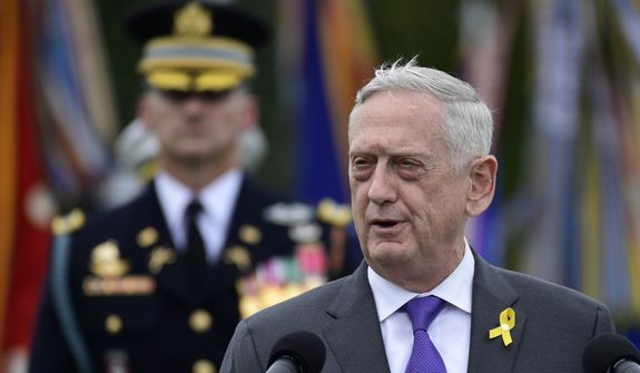 In this Sept. 21, 2018, photo, Defense Secretary Jim Mattis speaks during the 2018 POW/MIA National Recognition Day Ceremony at the Pentagon in Washington. A U.S. administration official says Mattis will leave his post Jan. 1, 2019, as President Donald Trump is expected to name deputy defense chief Patrick Shanahan as acting secretary. (AP Photo/Susan Walsh) **FILE**
