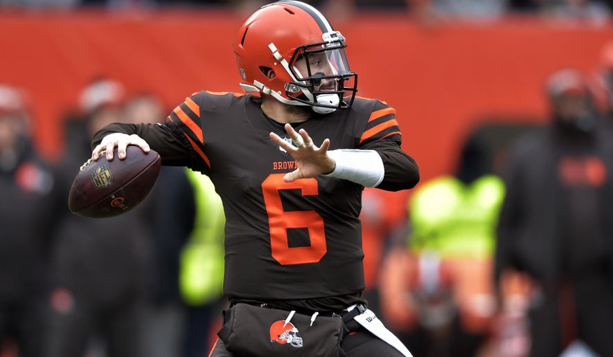 f2f82c0cb6f Cleveland Browns quarterback Baker Mayfield throws during the first half of  an NFL football game against