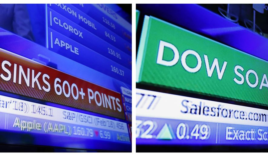 FILE - This combination photo shows a television screen on the floor of the New York Stock Exchange with a headline for the Dow Jones industrial average on Feb. 2, 2018, left, and another on Nov. 28. No matter which way the stock market goes in 2019, and Wall Street has ample arguments for either direction, expect it to be another gut-wrenching ride. (AP Photo/Richard Drew, File)