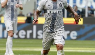 "FILE - In this Saturday, Sept. 15, 2018 file photo Inter Milan's Radja Nainggolan controls the ball during the Serie A soccer match between Inter Milan and Parma at the San Siro Stadium, in Milan, Italy. Inter Milan has suspended midfielder Radja Nainggolan ""for disciplinary reasons."" In a brief statement on Sunday, Dec. 23, 2018, Inter says ""FC Internazionale Milano can confirm that Radja Nainggolan has been temporarily suspended from football activity for disciplinary reasons.""(AP Photo/Antonio Calanni, File)"