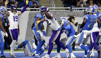 Minnesota Vikings tight end Kyle Rudolph reacts after his 44-yard reception for a touchdown during the first half of an NFL football game, against the Detroit Lions Sunday, Dec. 23, 2018, in Detroit. (AP Photo/Jose Juarez)