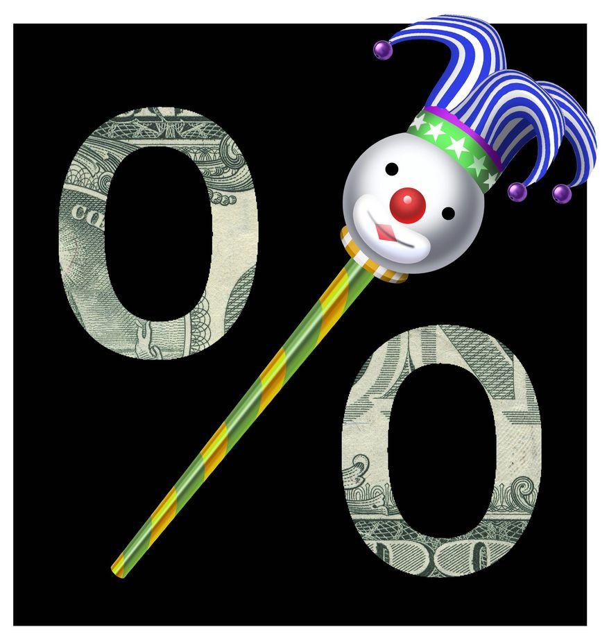 Illustration on foolish Fed policy by Alexander Hunter/The Washington Times