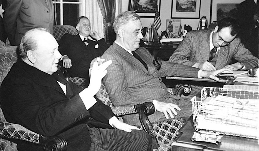 President Franklin D. Roosevelt and British Prime Minister Winston Churchill give a press conference on Dec. 23, 1941, in the Oval Office. (National Archives)