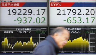 A man walks past the day's losses, of Nikkei stock index, left, and of the Dow Jones Industrial Average, right, on an electronic stock board at a securities firm in Tokyo, Monday, Dec. 25, 2018. President Donald Trump's attacks on the Federal Reserve spooked the stock market on Christmas Eve, and efforts by his Treasury secretary to calm investors' fears only seemed to make matters worse, contributing to another day of heavy losses on Wall Street. (Yohei Fukai/Kyodo News via AP)