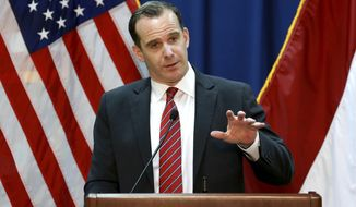 """FILE - In this June 7, 2017, file photo, Brett McGurk, then U.S. envoy for the global coalition against IS, speaks during a press conference at the U.S. Embassy Baghdad, Iraq.  President Donald Trump is recycling familiar fictions concerning the Iran nuclear deal as he lashes out at a Republican senator who criticized him and a U.S. official who resigned in protest against Trump's plan to pull troops from Syria. Trump slapped both critics in one tweet Monday: """"For all of the sympathizers out there of Brett McGurk remember, he was the Obama appointee who was responsible for loading up airplanes with 1.8 Billion Dollars in CASH & sending it to Iran as part of the horrific Iran Nuclear Deal (now terminated) approved by Little Bob Corker.""""  (AP Photo/Hadi Mizban, File)"""