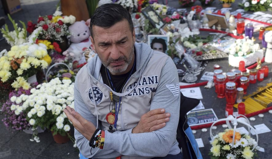 FILE - In this Oct. 6, 2018, file photo, Davor Dragicevic, father of 21-year-old David Dragicevic speaks during an interview with the Associated Press, in the Bosnian town of Banja Luka, northwest of Sarajevo. Bosnian Serb police have detained the man whose quest for the truth over the death of his son has sparked months of anti-government protests. (AP Photo/Darko Vojinovic, File)
