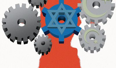 Illustration on the global left's hostility to Israel by Linas Garsys/The Washington Times