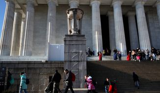 The Lincoln Memorial was open on Wednesday despite the government shutdown, but restrooms, visiting center, and elevator access were closed. (Associated PRess)