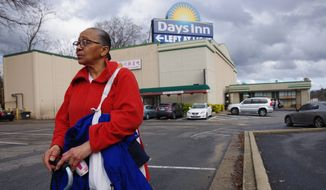 Robin Hall, 60, says mold and dust at the Days Inn in the Northeast where she has lived for two years have taken a toll on her health. Hotels are used by the D.C. Department of Human Services to house the homeless while shelters are built to replace D.C. General. (Julia Airey/The Washington Times)