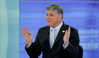 In this July 26, 2018, file photo, Fox News talk show host Sean Hannity is shown during a taping of his show in New York. (AP Photo/Julie Jacobson, File)