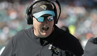 Jacksonville Jaguars head coach Doug Marrone gestures, during the first half at an NFL football game against the Miami Dolphins, Sunday, Dec. 23, 2018, in Miami Gardens, Fla. (AP Photo/Lynne Sladky)