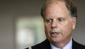 In this Friday, Sept. 7, 2018, file photo, Sen. Doug Jones, D-Ala., waits to speak at the dedication for the United States Courthouse for the Southern District of Alabama in Mobile, Ala. (AP Photo/Dan Anderson, File)