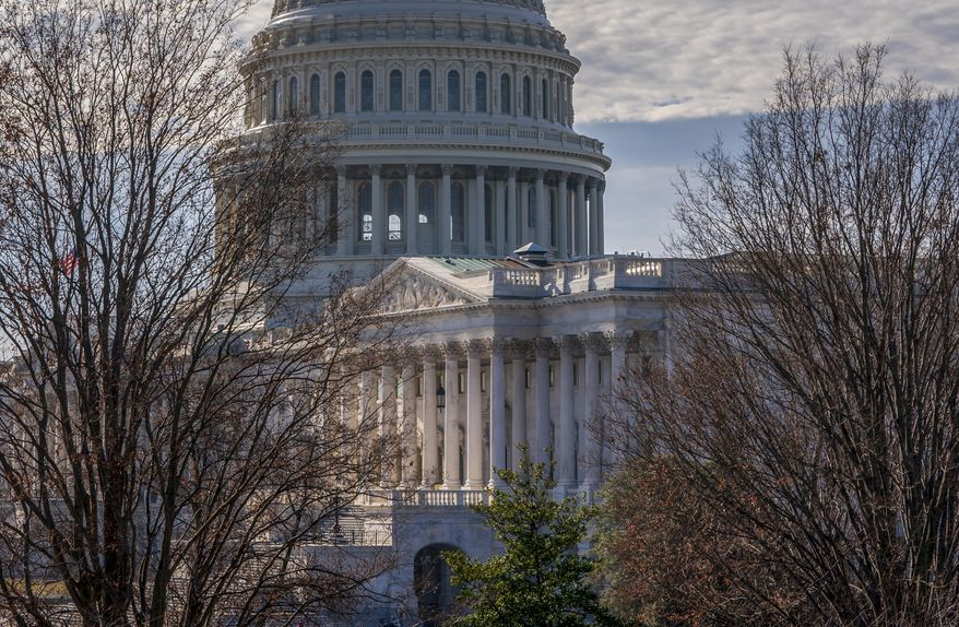 The Capitol is seen from the Russell Senate Office Building in Washington, Thursday, Dec. 27, 2018, during a partial government shutdown.  Chances look slim for ending the partial government shutdown any time soon. Lawmakers are away from Washington for the holidays and have been told they will get 24 hours' notice before having to return for a vote. (AP Photo/J. Scott Applewhite)