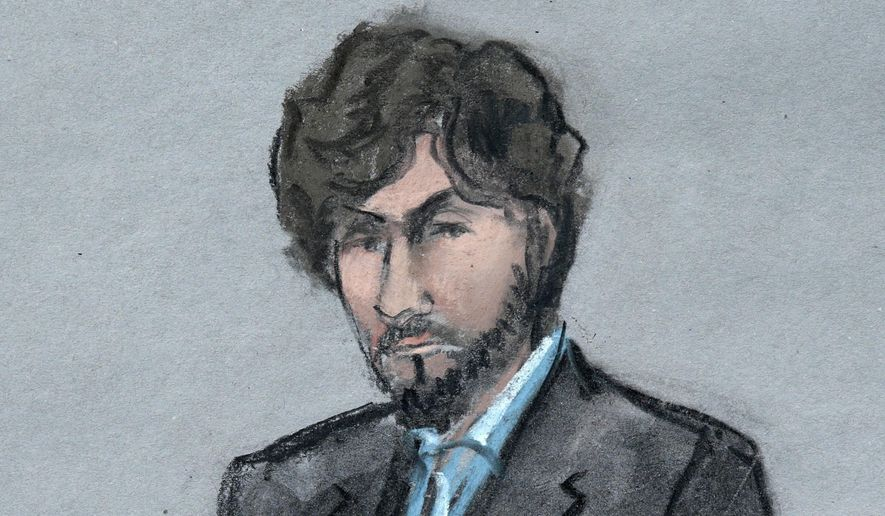 FILE - In this June 24, 2015 file courtroom sketch, Boston Marathon bomber Dzhokhar Tsarnaev sits as survivors and victim's family members address the court before U.S. District Judge George O'Toole Jr., in federal court in Boston. Tsarnaev's attorneys are expected to file on Thursday, Dec. 27, 2018, a lengthy brief detailing their appeal of his death sentence. (Jane Flavell Collins via AP, File)