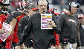 Tampa Bay Buccaneers head coach Dirk Koetter watches play against the Dallas Cowboys in the first half of an NFL football game in Arlington, Texas, Sunday, Dec. 23, 2018. (AP Photo/Michael Ainsworth)