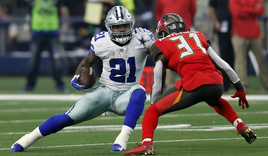 File-This Dec. 23, 2018, file photo shows Dallas Cowboys running back Ezekiel Elliott (21) attempting to evade a tackle by Tampa Bay Buccaneers safety Jordan Whitehead (31) after Elliott caught a pass in the first half time of an NFL football game in Arlington, Texas. Elliott leads NFL with 1,434 yards rushing and 2,001 yards from scrimmage. He is looking for ninth straight game with 100 yards from scrimmage. (AP Photo/Roger Steinman) ** FILE **