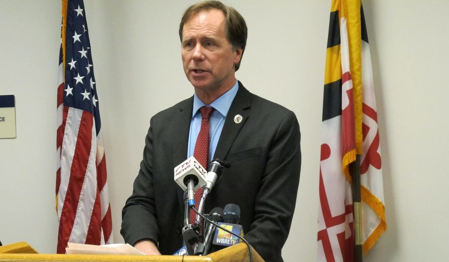 In this file photo, Anne Arundel County Executive Steuart Pittman speaks to reporters during a news conference on Thursday, Dec. 27, 2018, in Annapolis, Md. (AP Photo/Brian Witte) ** FILE **