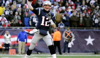 File-This Dec. 23, 2018, file photo shows New England Patriots quarterback Tom Brady passing against the Buffalo Bills during the second half of an NFL football game, in Foxborough, Mass.  Brady and the Patriots are the only team in the NFL without a loss at home (7-0). They could complete an undefeated home regular season for the seventh time since 2002 with a sixth straight victory over the Jets. (AP Photo/Elise Amendola, File)