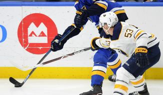 St. Louis Blues' Colton Parayko (55) gets the puck around Buffalo Sabres' Jeff Skinner 53) during the first period of an NHL hockey game, Thursday, Dec. 27, 2018, in St. Louis. (AP Photo/Bill Boyce)