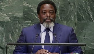 "FILE - In this Sept. 25, 2018, file photo, President of the Democratic Republic of the Congo Joseph Kabila Kabange addresses the United Nations General Assembly at the United Nations headquarters. Congo's leader says ""there is no further reason"" to prevent Sunday's presidential election after two years of delays, but he blames an Ebola outbreak for the last-minute decision to keep an estimated 1 million voters from the polls. (AP Photo/Frank Franklin II, File)"