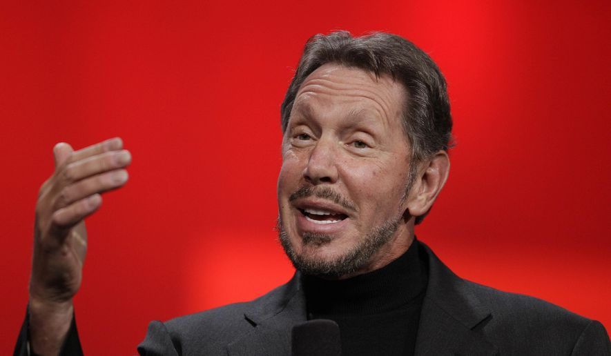 In this Oct. 2, 2012, file photo, Oracle CEO Larry Ellison gestures while giving a keynote address at Oracle OpenWorld in San Francisco. (AP Photo/Eric Risberg, File)