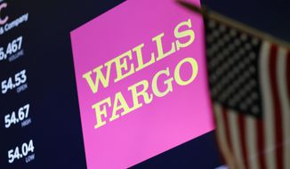 In this May 17, 2018, file photo, the logo for Wells Fargo appears above a trading post on the floor of the New York Stock Exchange. Wells Fargo is paying $575 million as part of a deal to resolve investigations by every state into its banking practices, which have included creating phony accounts and using manipulative sales practices. The deal also includes creating teams to review and respond to customer issues about its banking and sales practices.  (AP Photo/Richard Drew, File)